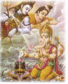 Ganesh with Shiva and Parvati